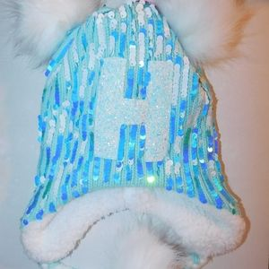 Justice Sequin Initial Pompom Earflap Beanie